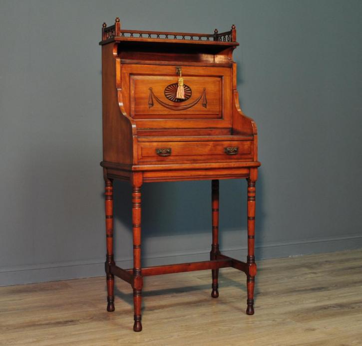 Edwardianischer antiker Arts & Crafts Sekretär Nussbaum britisch ca 1900