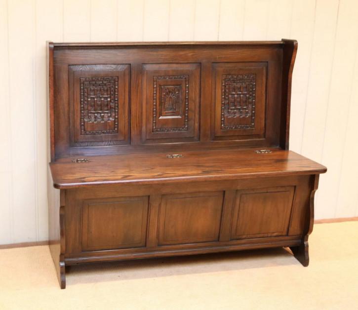 Antike britische Eichen Sitzbank ca 1930