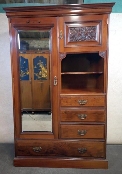 Edwardianischer antiker Nussbaum Kleiderschrank britisch ca 1890