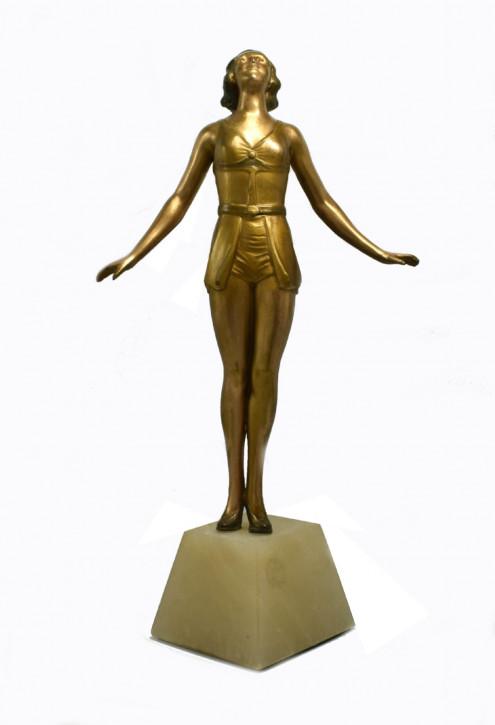 Art Deco Alabaster Figur Skulptur antik englisch ca 1930