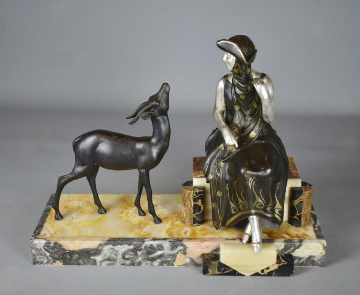 Antike französische Art Deco Skulptur Figur 1930