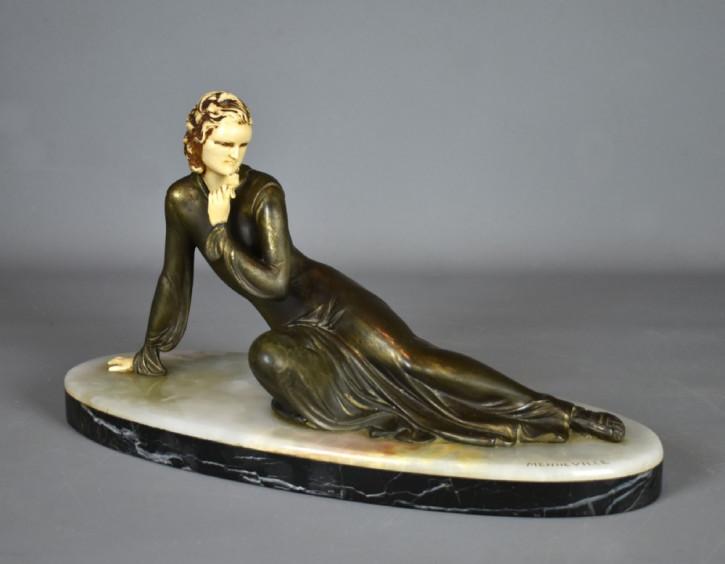 Antike Art Deco Bronzefigur Skulptur französisch Menneville 1930