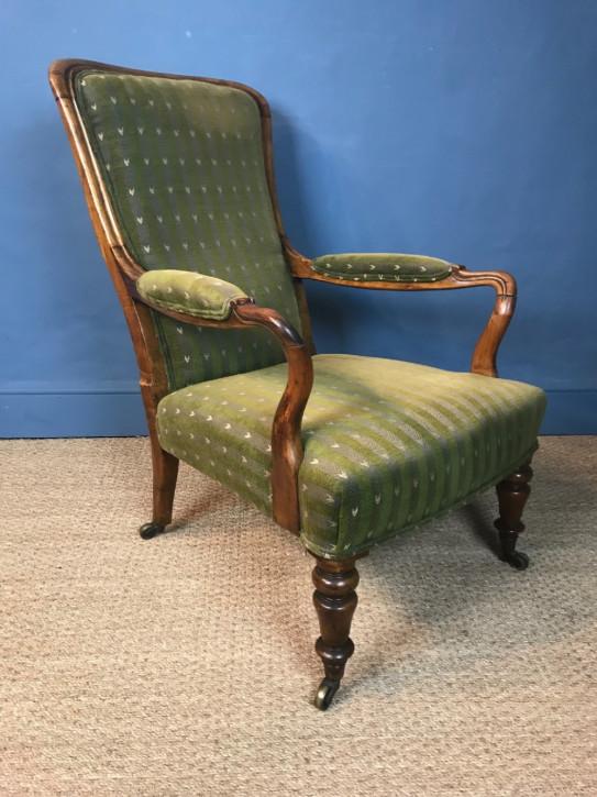 Viktorianischer antiker Nussbaum Sessel englisch circa 1850