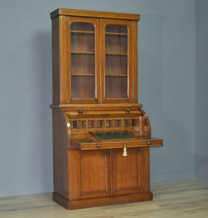 Viktorianischer antiker Eichen Bureau Bookcase britisch ca 1860