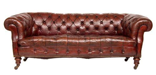 Viktorianisches britisches Chesterfield Sofa Leder antik ca 1860