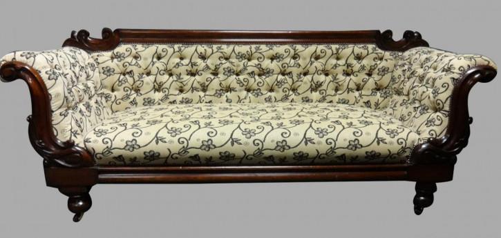 Viktorianisches antikes Mahagoni Sofa Stoffsofa britisch ca 1870