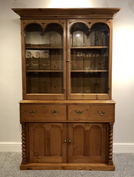 Viktorianischer antiker Weichholz Bücherschrank Kiefer britisch ca 1860