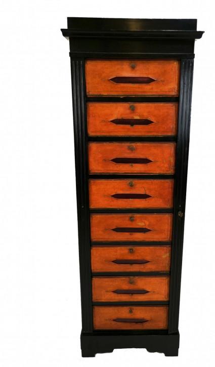Antiker französischer Massivholz Aktenschrank Kommode ebonisiert ca 1890 / 1900