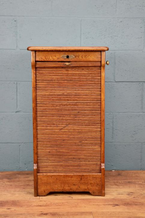 Antiker britischer Eichen Aktenschrank Rollfront ca 1920