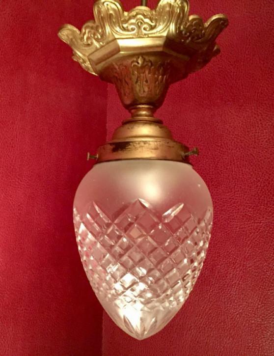 Antike französische Kristall Deckenlampe Bronze Lampe ca 1910