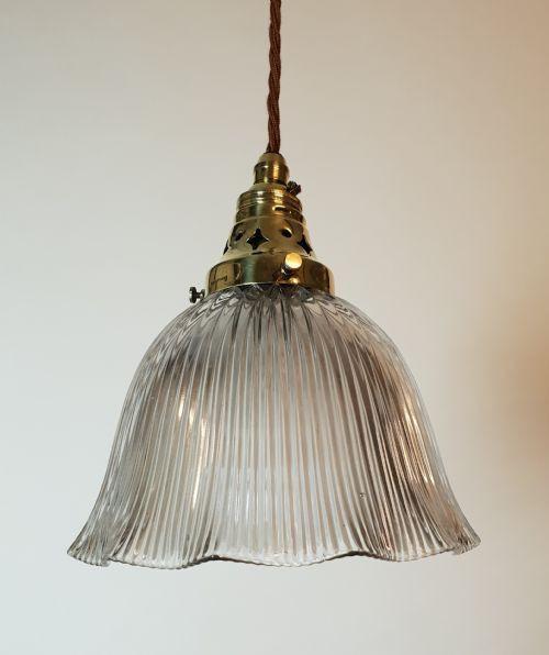 Antike britische Holophane Deckenlampe Hängelampe ca 1890
