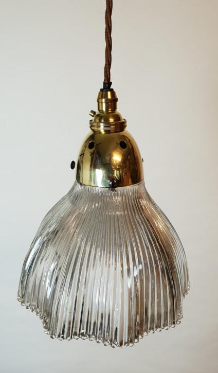 Antike edwardianische Holophane Deckenleuchte Deckenlampe britisch ca 1890