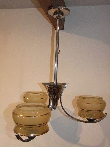 Antike britische Art Deco Deckenlampe Chrom Deckenleuchte ca 1930