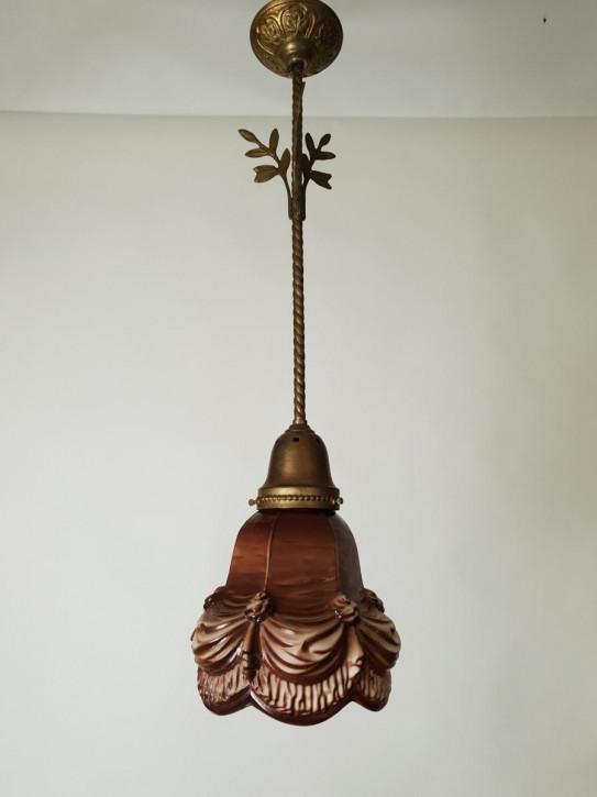 Antike niederländische Deckenlampe Keramik Deckenleuchte vergoldet ca 1910