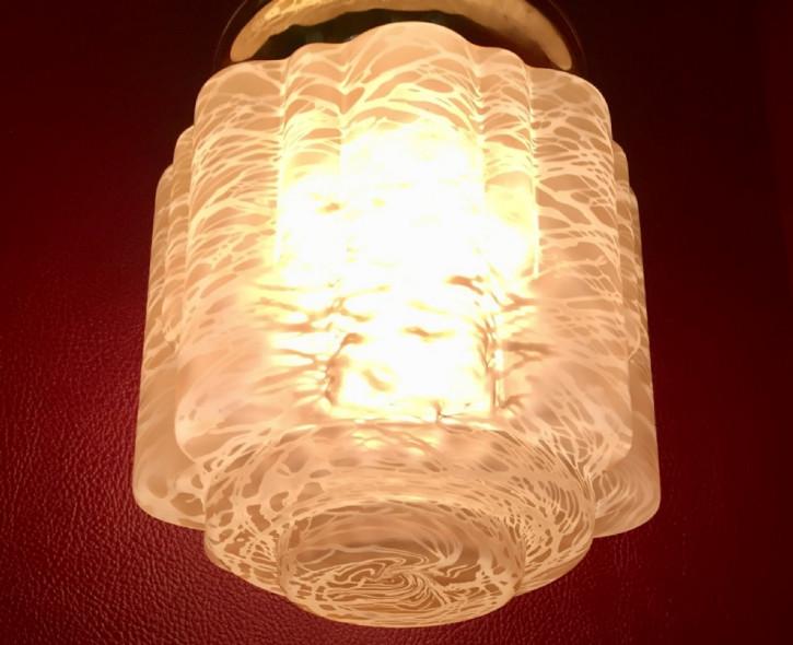 Antike britische Art Deco Deckenlampe Messing Deckenleuchte Opalglas ca 1930