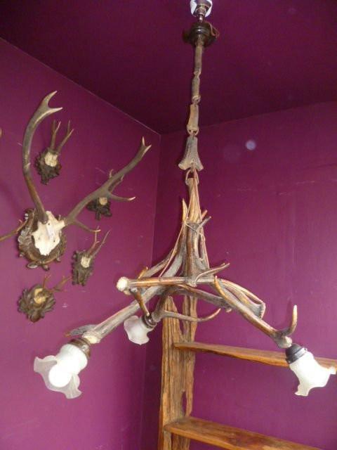 Antike britische Hängelampe Deckenlampe Geweih ca 1890