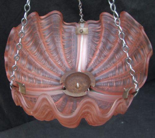 Englische Art Deco Deckenlampe Chrom Glas Deckenleuchte antik ca 1930