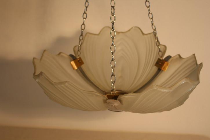 Englische Art Deco Deckenlampe Deckenleuchte antik opak ca 1930