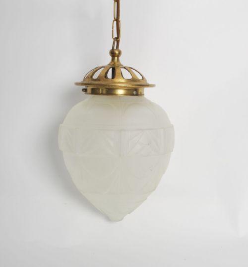 Edwardianische antike Glas Deckenlampe Messing Deckenleuchte englisch ca 1890