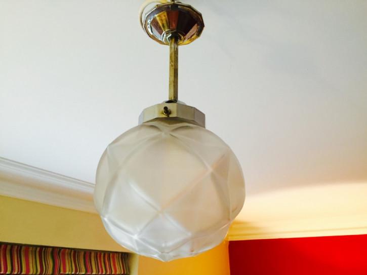 Englische Art Deco Deckenlampe Chrom antik ca 1930