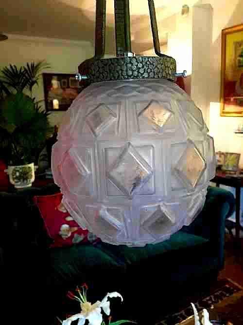Englische Art Deco Deckenlampe Deckenleuchte Bronze Milchglas antik ca 1930