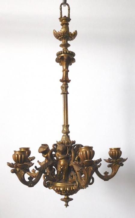 Viktorianischer antiker Messing Kronleuchter Deckenleuchte ca 1880
