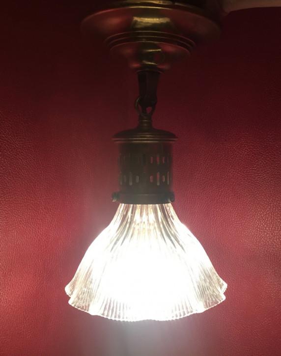 Edwardianische antike Deckenlampe Holophane Deckenleuchte britisch ca 1890