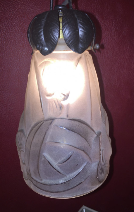 Antike britische Deckenlampe Glas ca 1920