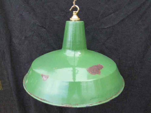 Antike Englische Grüne Emaille Deckenlampe ca. 1940
