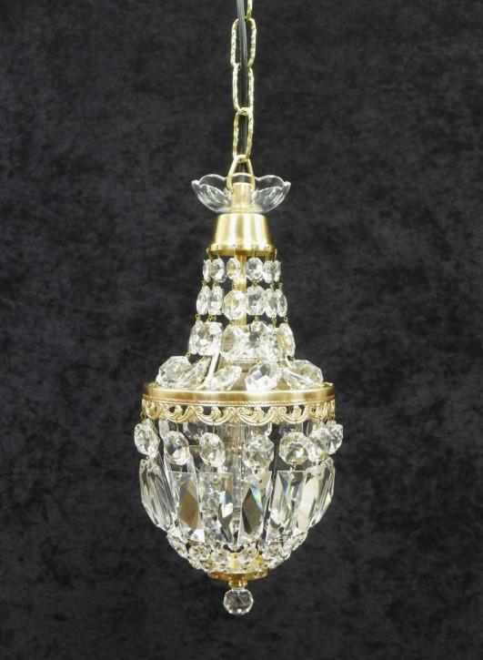 Französischer antiker Art Deco Kronleuchter Kristallglas Messing ca 1920