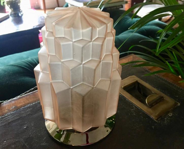 Antike Art Deco Kristallglas Tischlampe Deckenleuchte englisch ca 1930