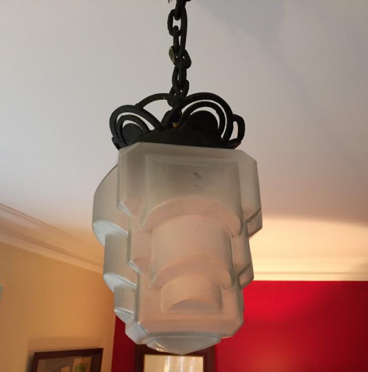 Antike britische Art Deco Deckenlampe Gusseisen Kristallglas ca 1930
