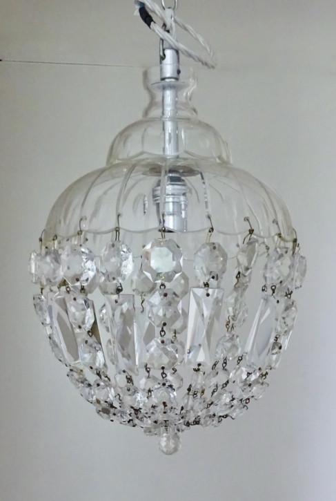 Antike britische Deckenlampe Hängelampe Kristallglas ca 1920