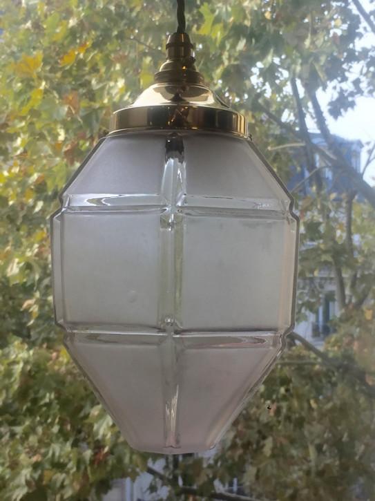 Antike britische Art Deco Deckenlampe Laterne Kristallglas ca 1930
