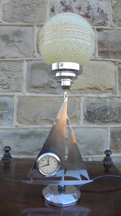 Antike Art Deco Chrom Tischlampe Uhr englisch ca 1930