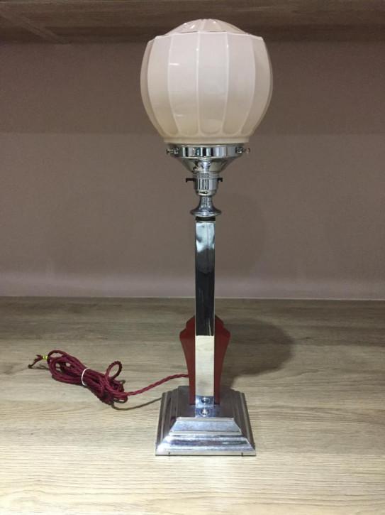 Antike britische Art Deco Tischlampe Glas Chrom ca 1930