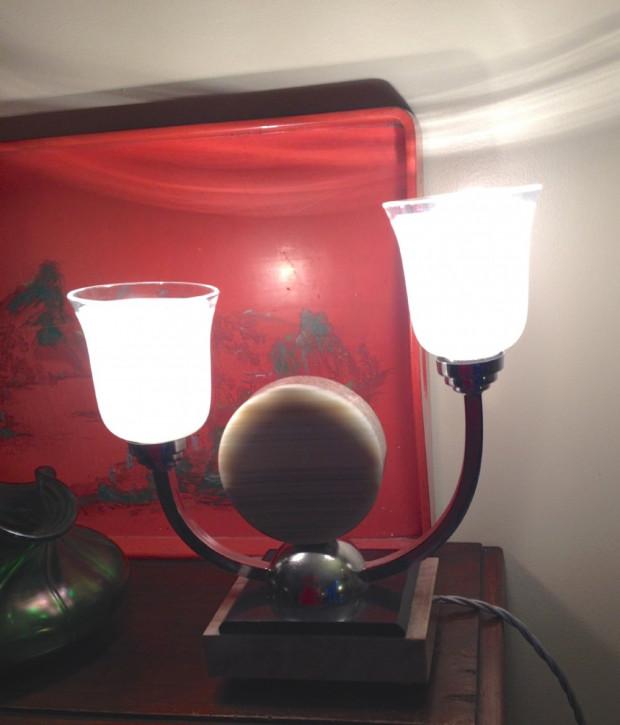 Englische Art Deco Tischlampe Chrom Marmor antik ca 1930