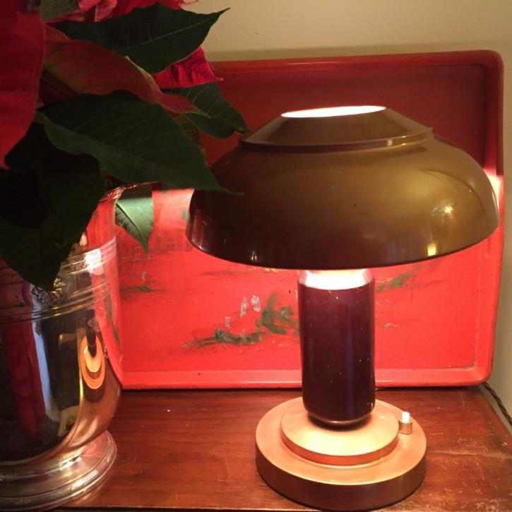 Antike britische Art Deco Tischlampe Toleware Makassarholz ca 1930