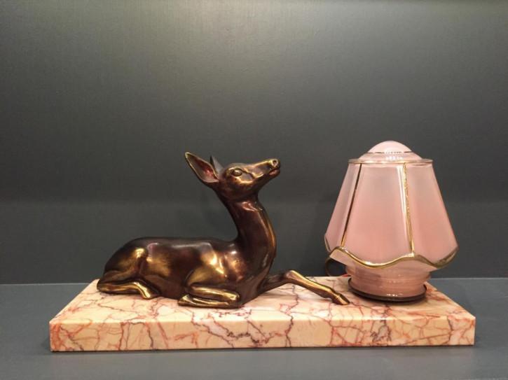 Antike Art Deco Tischlampe Marmor Bronze Figur französisch ca 1930