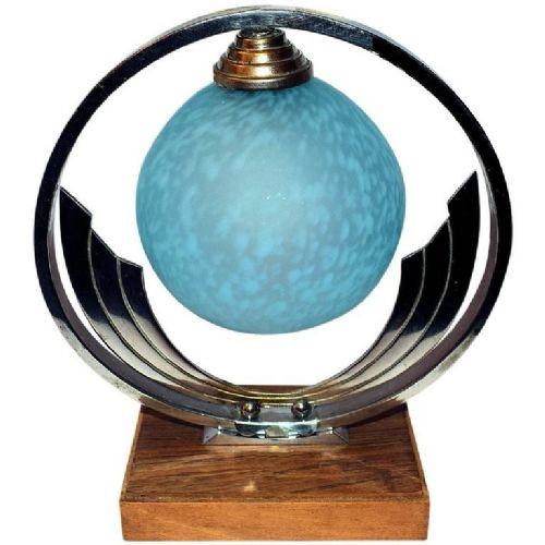Antike französische Art Deco Tischlampe Chrom ca 1930