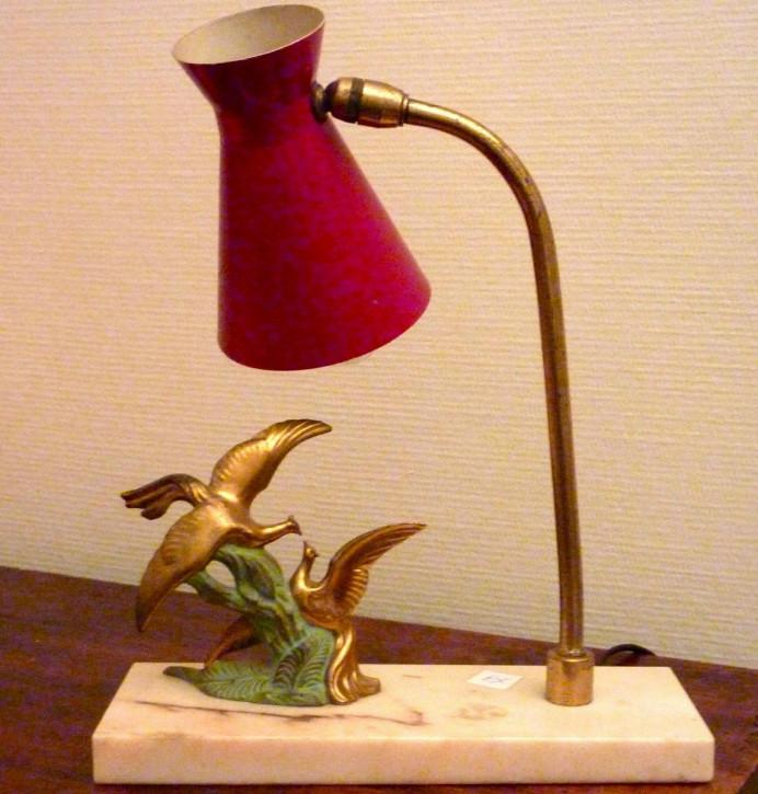 Antike Art Deco Schreibtischlampe Tischlampe Figur Marmor Toleware britisch ca 1930