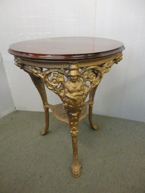 Antiker viktorianischer Tisch Gusseisen vergoldet Mahagoni britisch ca 1880