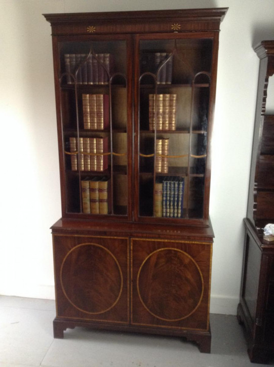 Antiker britischer Mahagoni Bücherschrank ca 1910