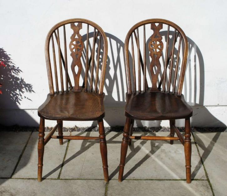 Antike britische Ulmen Buchen Stühle ca 1920