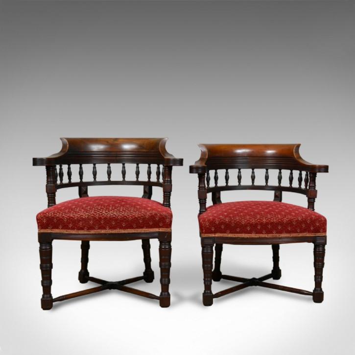 Antike viktorianische Stühle Nussbaum britisch ca 1900