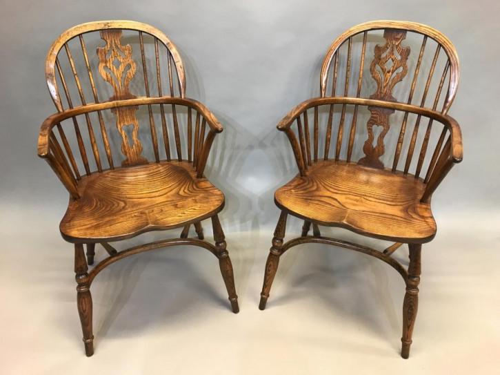 Antike britische Ulmen Stühle Landhaus Windsor Chair ca 1920