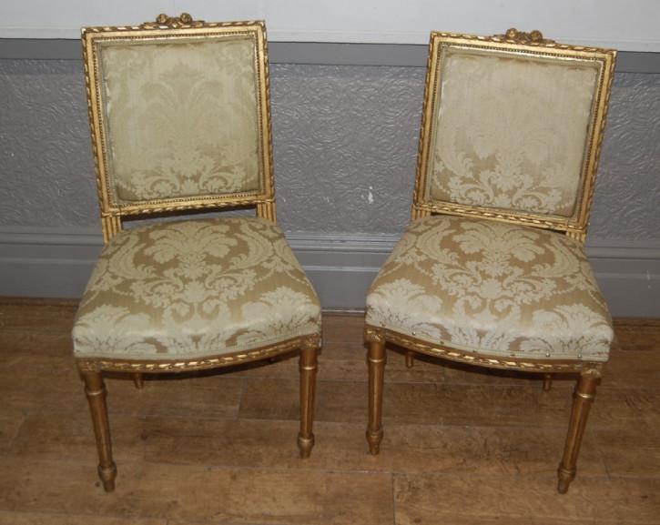 Französische antike Stühle Massivholz vergoldet ca 1920