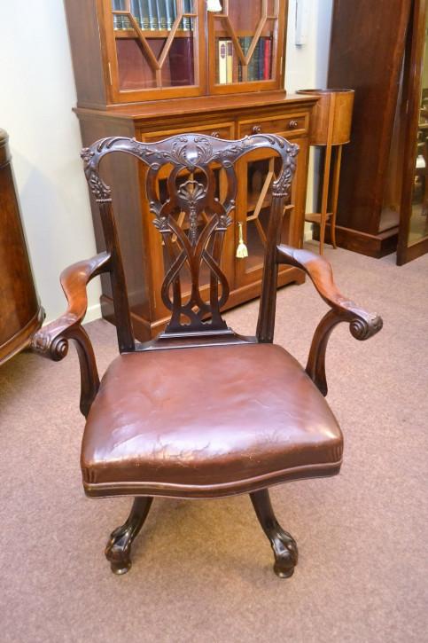 Antiker britischer Mahagoni Drehstuhl Schreibtischstuhl ca 19. Jh