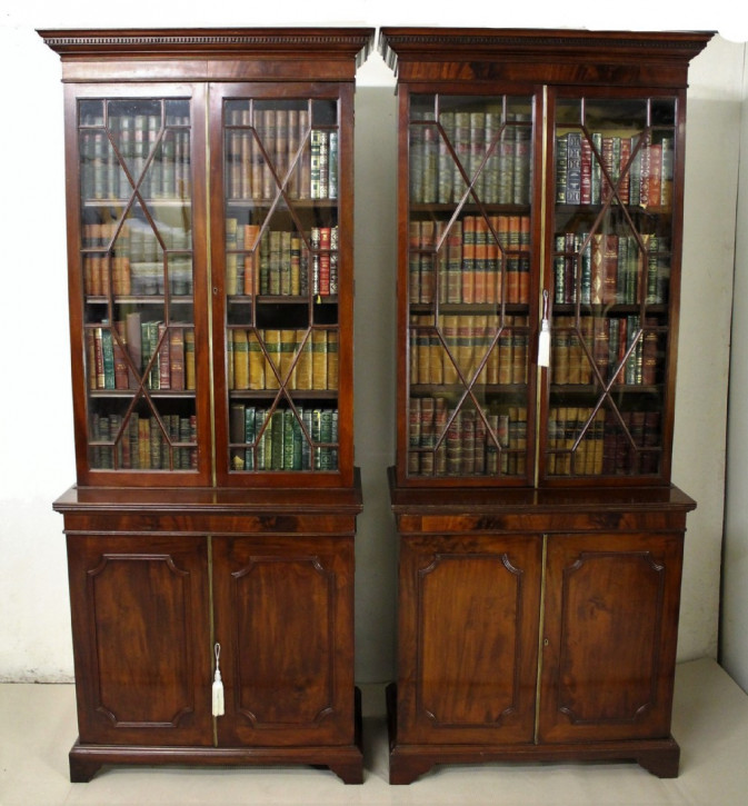 Edwardianische antike Bücherschränke Mahagoni britisch ca 1900