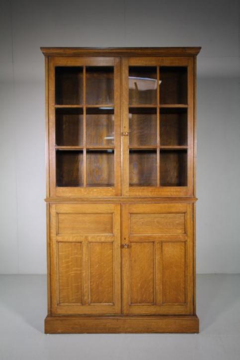 Edwardianischer antiker Eichen Bücherschrank britisch ca 1890